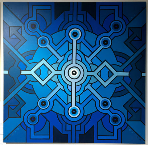 Seize Happywallmaker - Blue Mindalatomik (Large Original Canvas)
