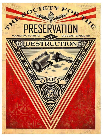 Shepard Fairey - Society Of Destruction (Framed HPM)