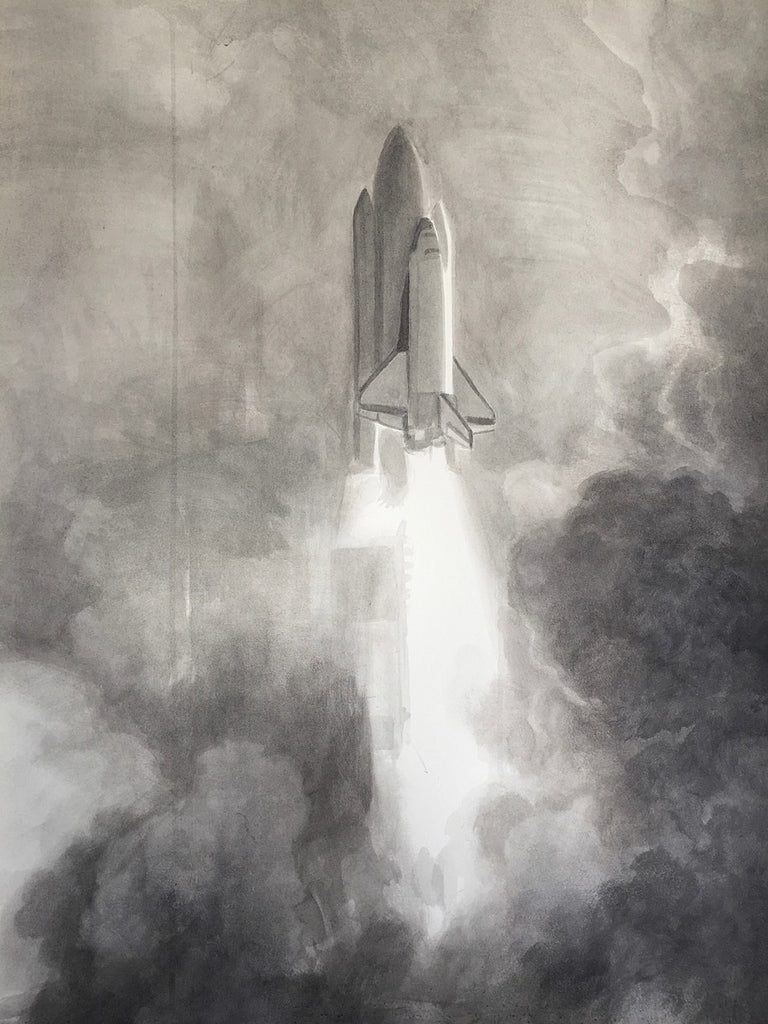 Fergus Hare - Shuttle Launch - Original Painting
