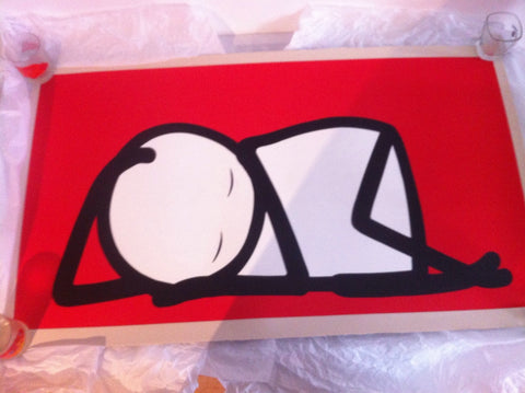 Stik - Sleeping Baby Red - Signed Street Art Print Rare!