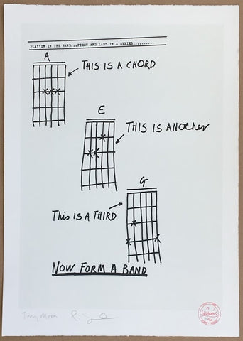 Tony Moon - Three Chords (Form A Band) - signed punk screenprint