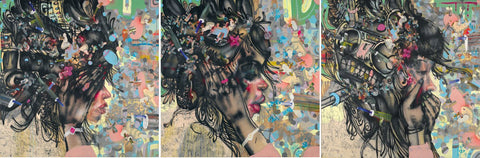 David Choe - Triptych (Watching You Waste Away; Please Lie To Me; Loose Lips)