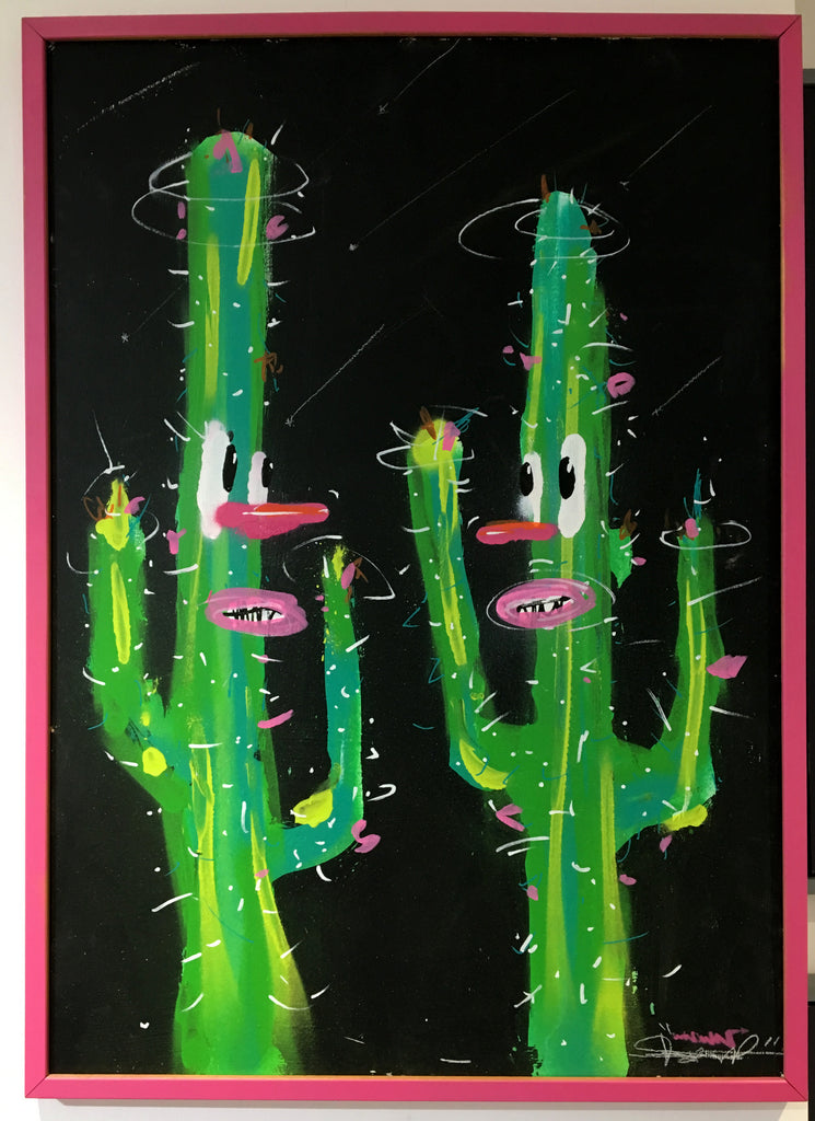 Unknown - Cactus Painting (Pink Frame)