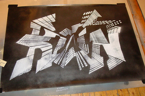 Zeus - Run - Signed Hand-Painted Original Graffiti Piece Stencil
