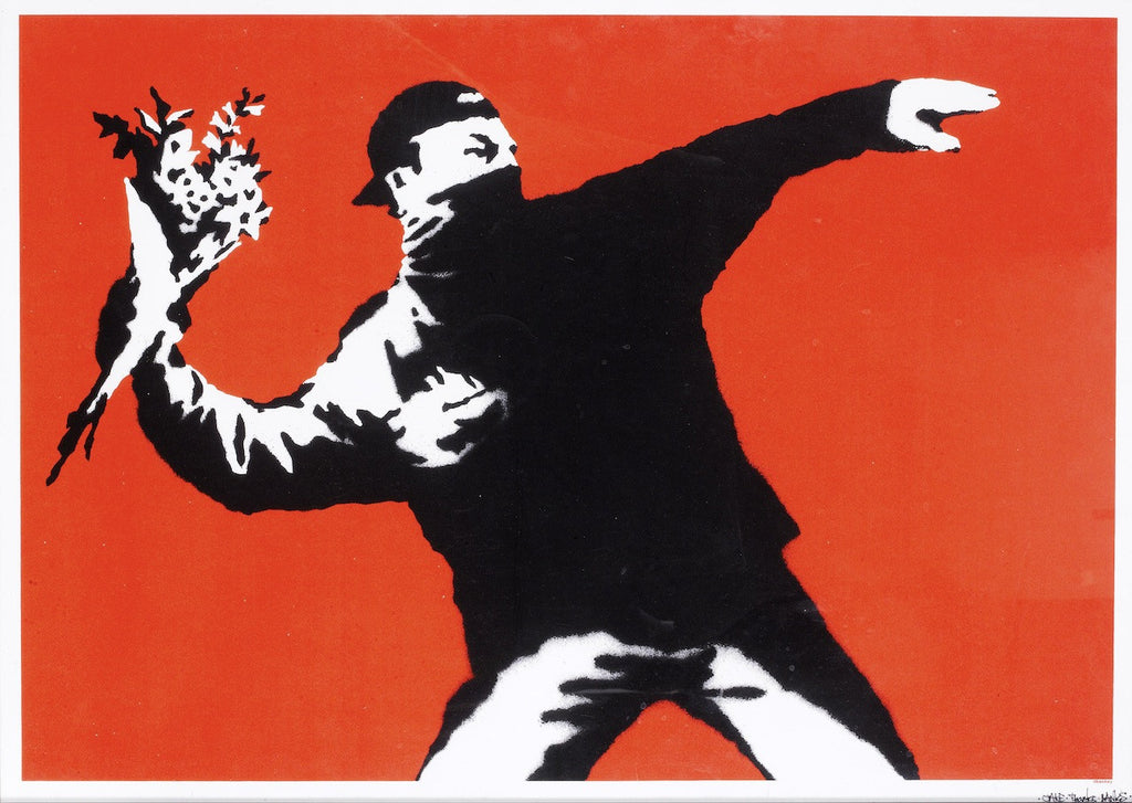 Banksy - Love Is In The Air / Flower Thrower - Unsigned Print