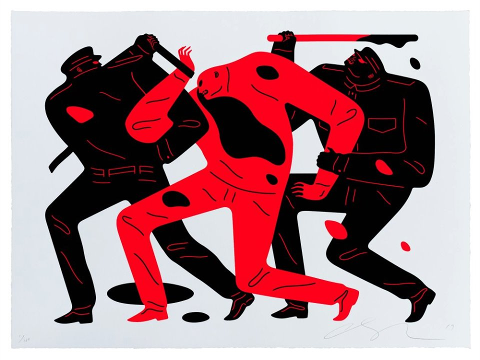 Cleon Peterson - The Disappeared (White)- Signed Screenprint