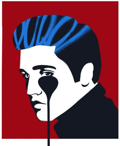 Pure Evil - Pure Elvis - Signed Elvis Presley Screenprint Red Blue