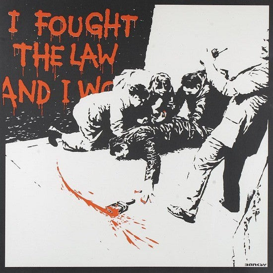 Banksy - I Fought The Law - Unsigned Screenprint with COA