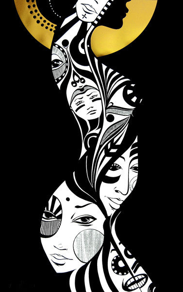 Lucy McLauchlan - Woman Screenprint in Gold - Print Pictures On Walls
