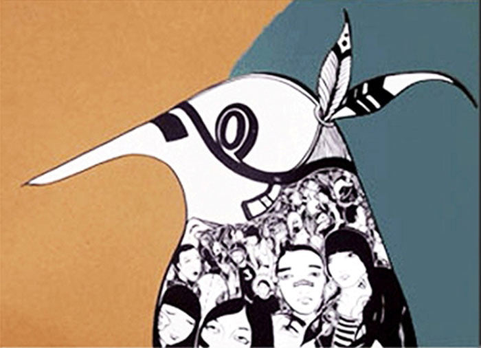 Lucy McLauchlan - Warrior Bird (Green) Signed Print Pictures On Walls Screenprint