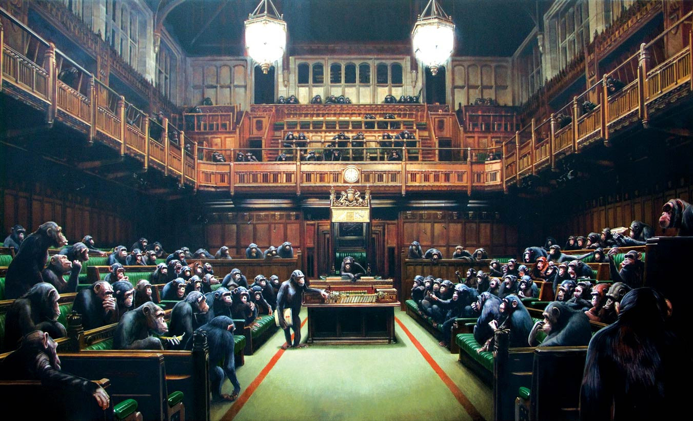 Banksy - Monkey Parliament Poster - Bristol Museum