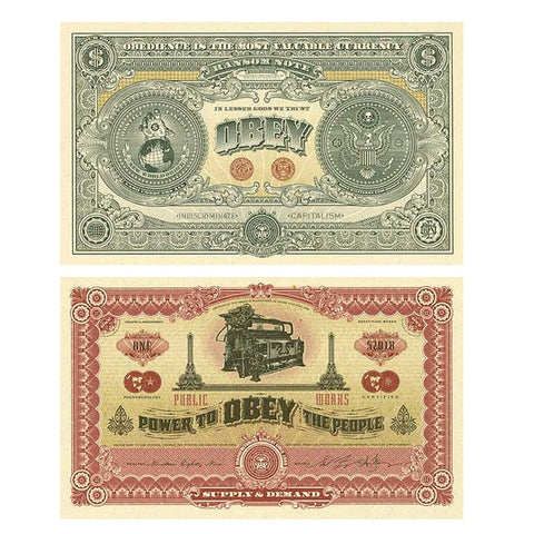 Shepard Fairey - Two Sides Of Capitalism (Good / Bad) - Signed Large Format Screenprints