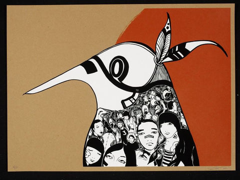 Lucy McLauchlan - Warrior Bird (Red) Signed Print Pictures On Walls Screenprint