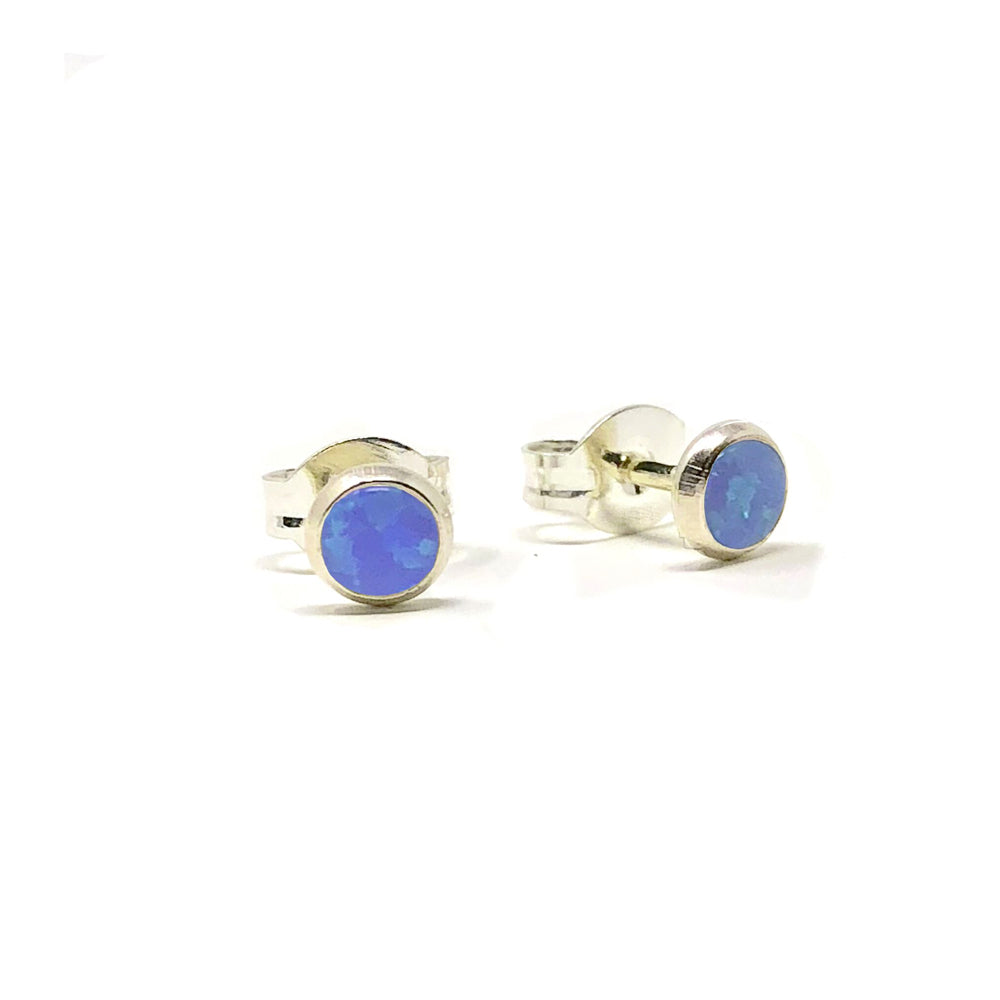 Dark Blue Opal Sterling Silver Stud Earring