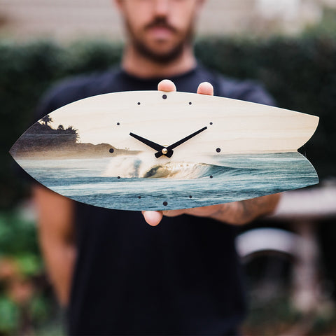 Dawn Patrol Wave Wooden Surfboard Wall Clock