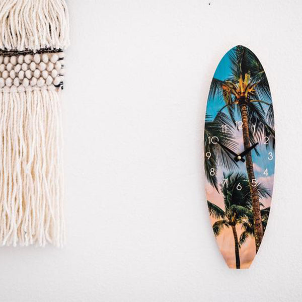 Hawaiian Palm Tree Wooden Surfboard Wall Clock