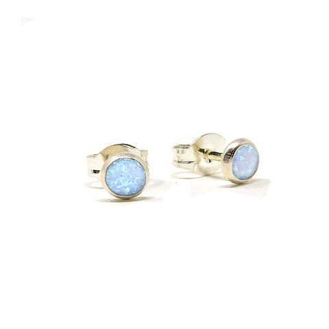 Light Blue Opal Sterling Silver Stud Earring