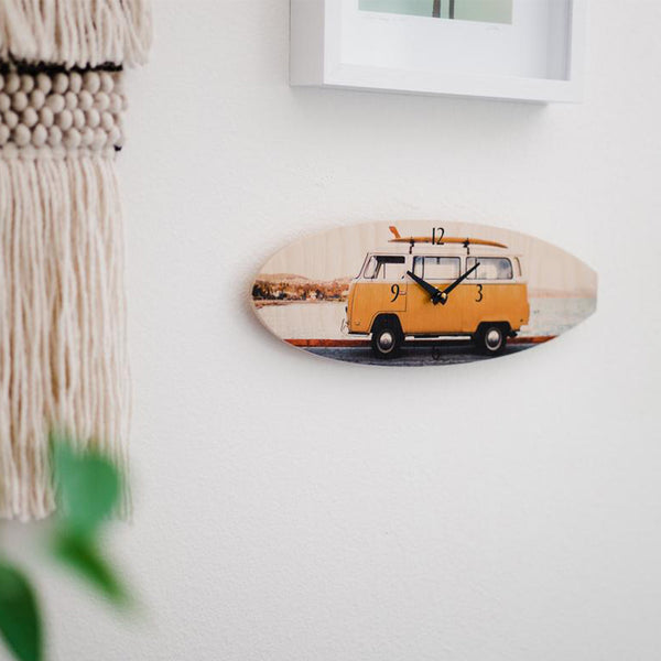 VW Bus Surfboard Wall Clock