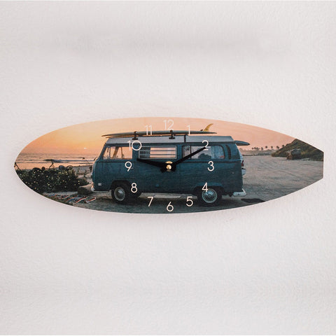 Blue VW Bus Surfboard Wall Clock