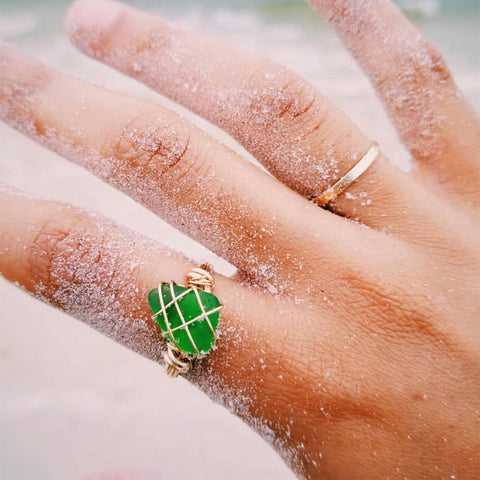 Green Sea Glass Gold Filled Ring