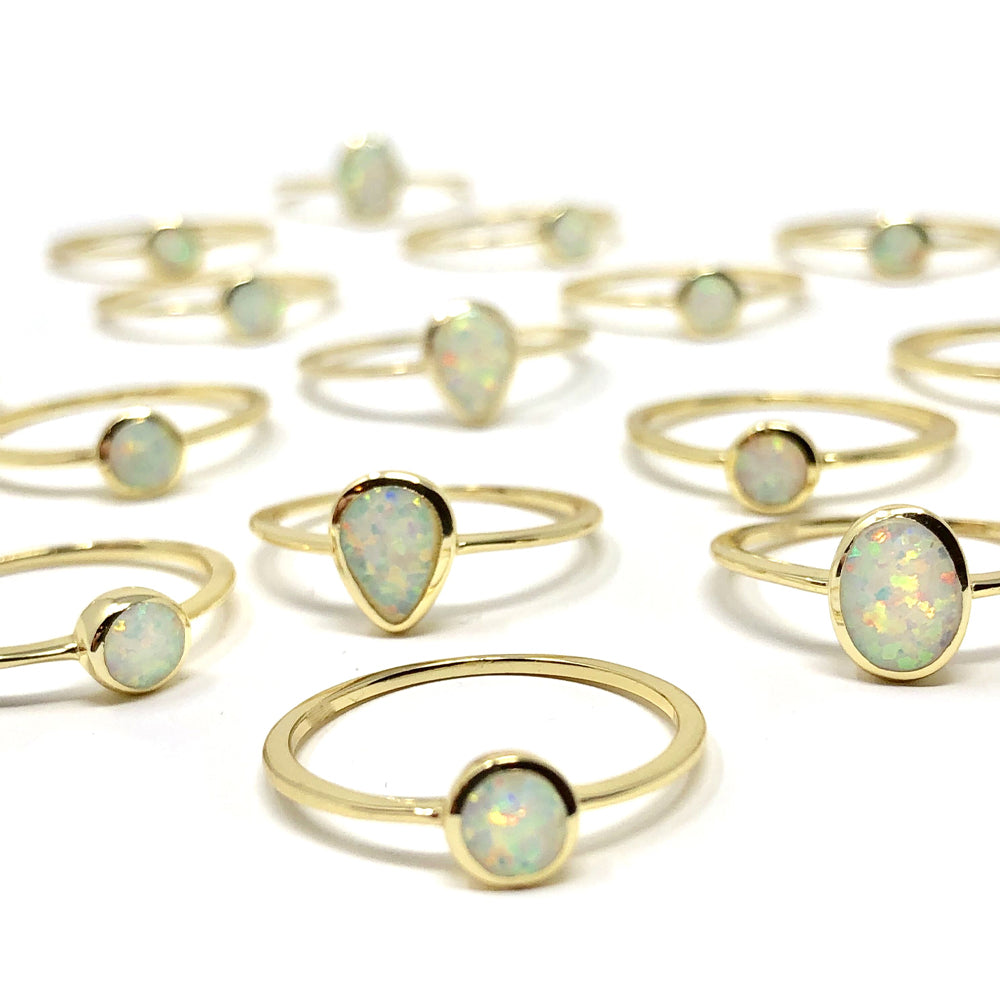 Oval Opal Dainty Ring