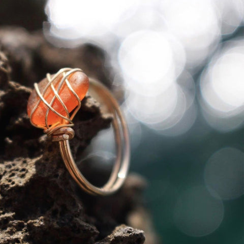 Light Brown Sea Glass Gold Filled Ring