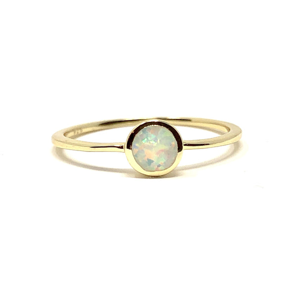 Round Opal Dainty Ring