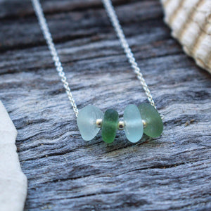 Seafoam + Green Bar Sterling Silver Necklace