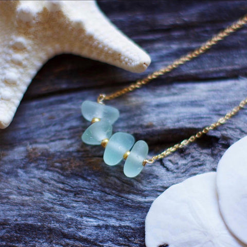 Seafoam Bar Gold Filled Necklace