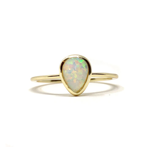 Teardrop Opal Dainty Ring