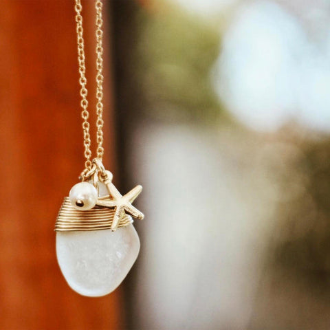 White Sea Glass Charm Gold Filled Necklace