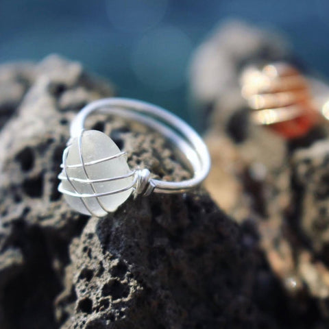 White Sea Glass Sterling Silver Ring