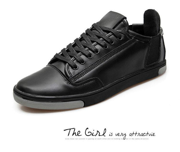 Genuine Leather Casual Sneakers Lace Up Men's Flats - TrendSettingFashions