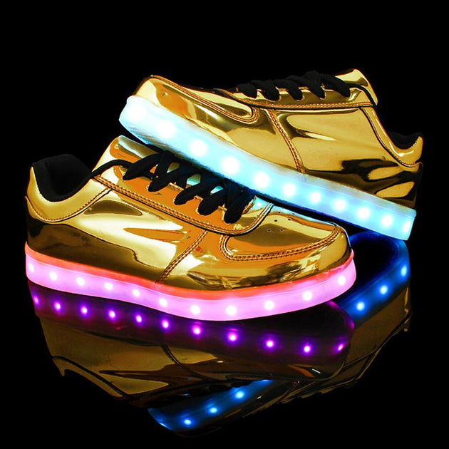 LED Glow Fashion Gold/Silver Low Tops With 8 LED Color Options Included!  USB Rechargeable! - TrendSettingFashions
