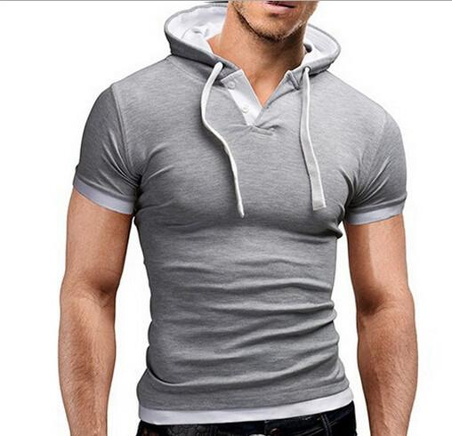 Men's Short Sleeved Hooded T-Shirts With 8 Color Options - TrendSettingFashions   - 3