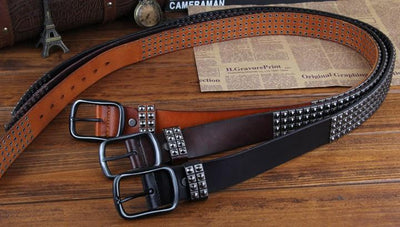 Genuine Leather Rivet Belt Style 2 - TrendSettingFashions
