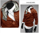 Men's Half Zip High Collar Jacket With Colored Hoodie - TrendSettingFashions