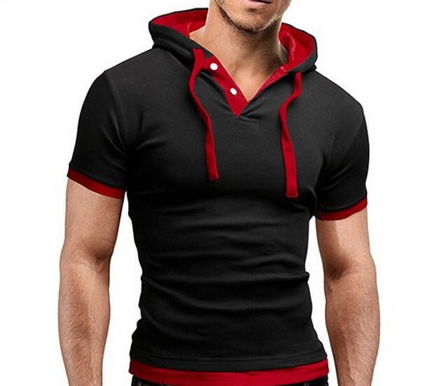 Men's Short Sleeved Hooded T-Shirts With 8 Color Options - TrendSettingFashions