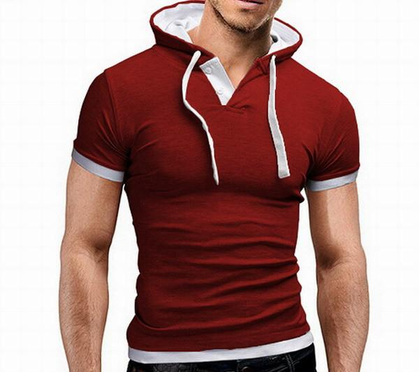 Men's Short Sleeved Hooded T-Shirts With 8 Color Options - TrendSettingFashions   - 7