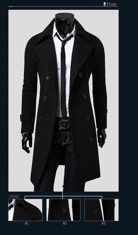 Men's Double Breasted Wool Coat - TrendSettingFashions   - 2