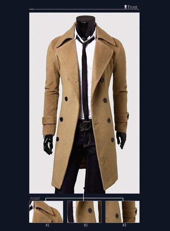Men's Double Breasted Wool Coat - TrendSettingFashions