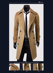 Men's Double Breasted Wool Coat - TrendSettingFashions   - 1