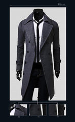 Men's Double Breasted Wool Coat - TrendSettingFashions   - 3