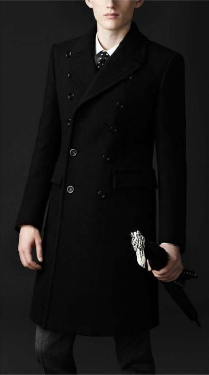 Men's Button Up Business Fashion Dress Wool Coat - TrendSettingFashions