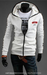 Men's Full Zip Sweatshirt With Zipper and Hoodie Colored Outline - TrendSettingFashions   - 2