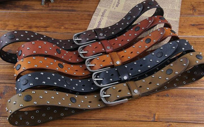 Genuine Leather Fashion Belt Rivet Style - TrendSettingFashions