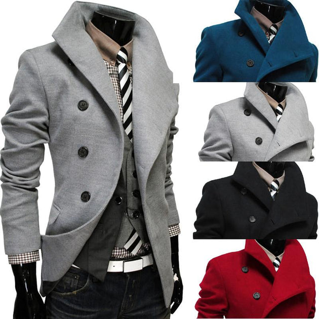 Men's Single Breasted Wool Coat - TrendSettingFashions   - 1