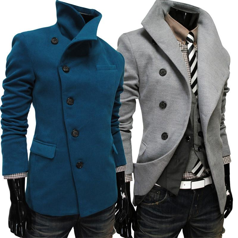 Men's Single Breasted Wool Coat - TrendSettingFashions   - 2
