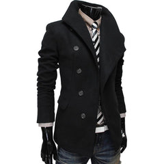 Men's Single Breasted Wool Coat - TrendSettingFashions   - 3