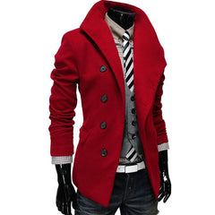 Men's Single Breasted Wool Coat - TrendSettingFashions   - 4